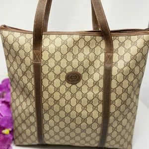 Preowned Authentic GG Tan Gucci Lager Tote